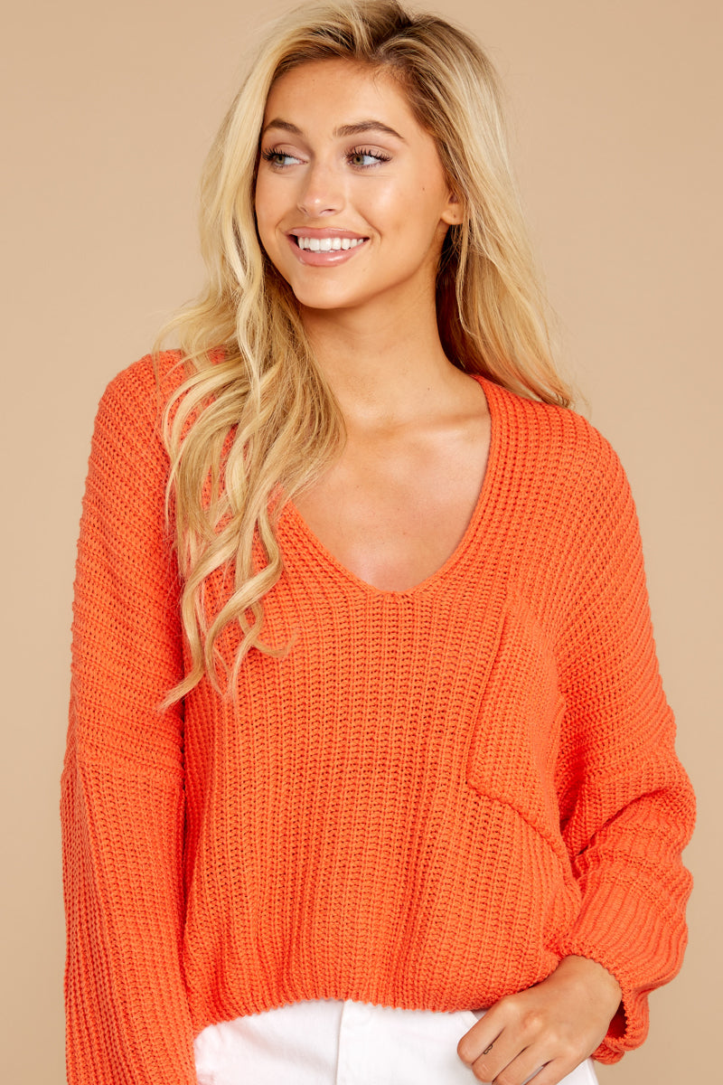 4 Keep Things Peaceful Bright Orange Sweater at reddressboutique.com