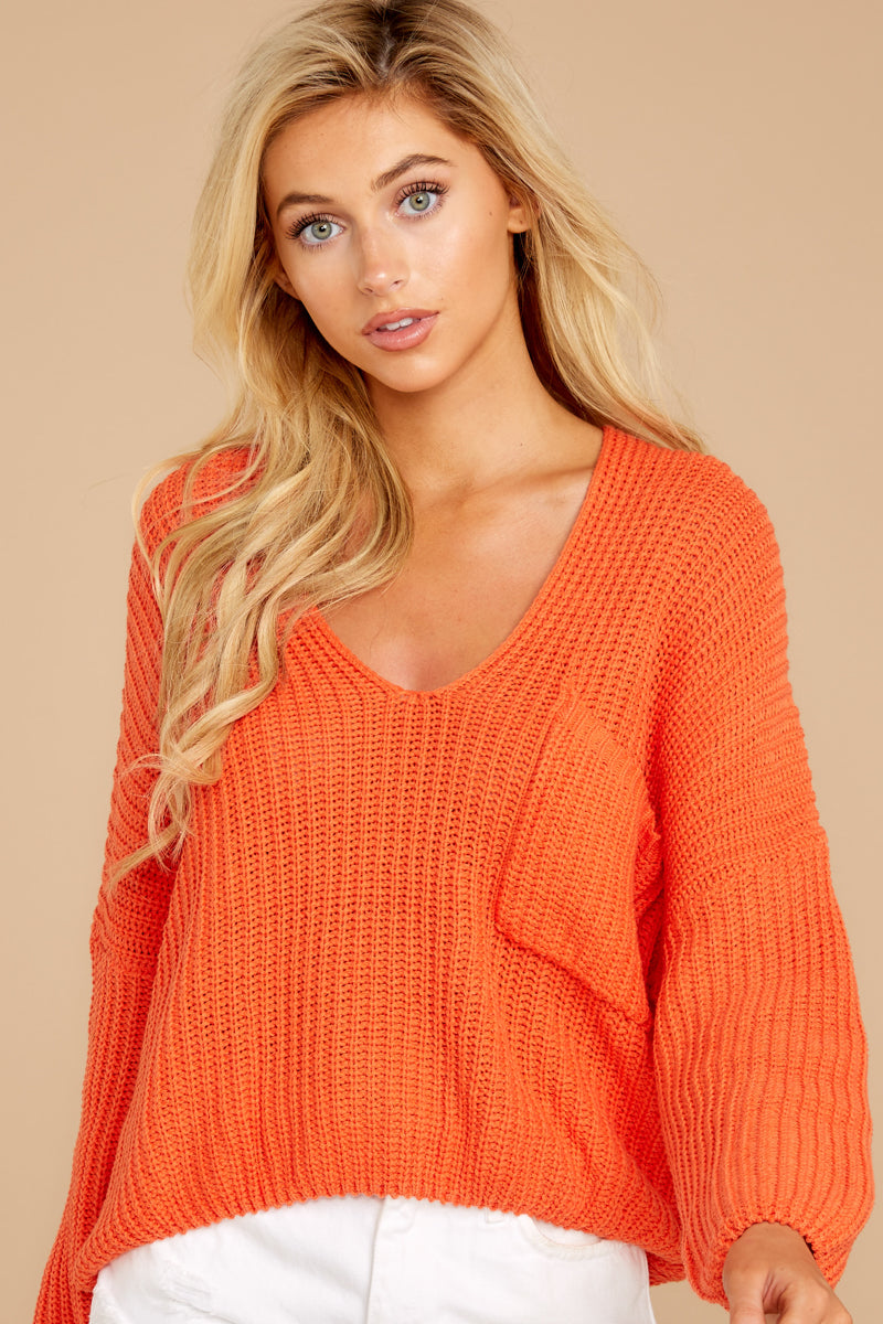5 Keep Things Peaceful Bright Orange Sweater at reddressboutique.com