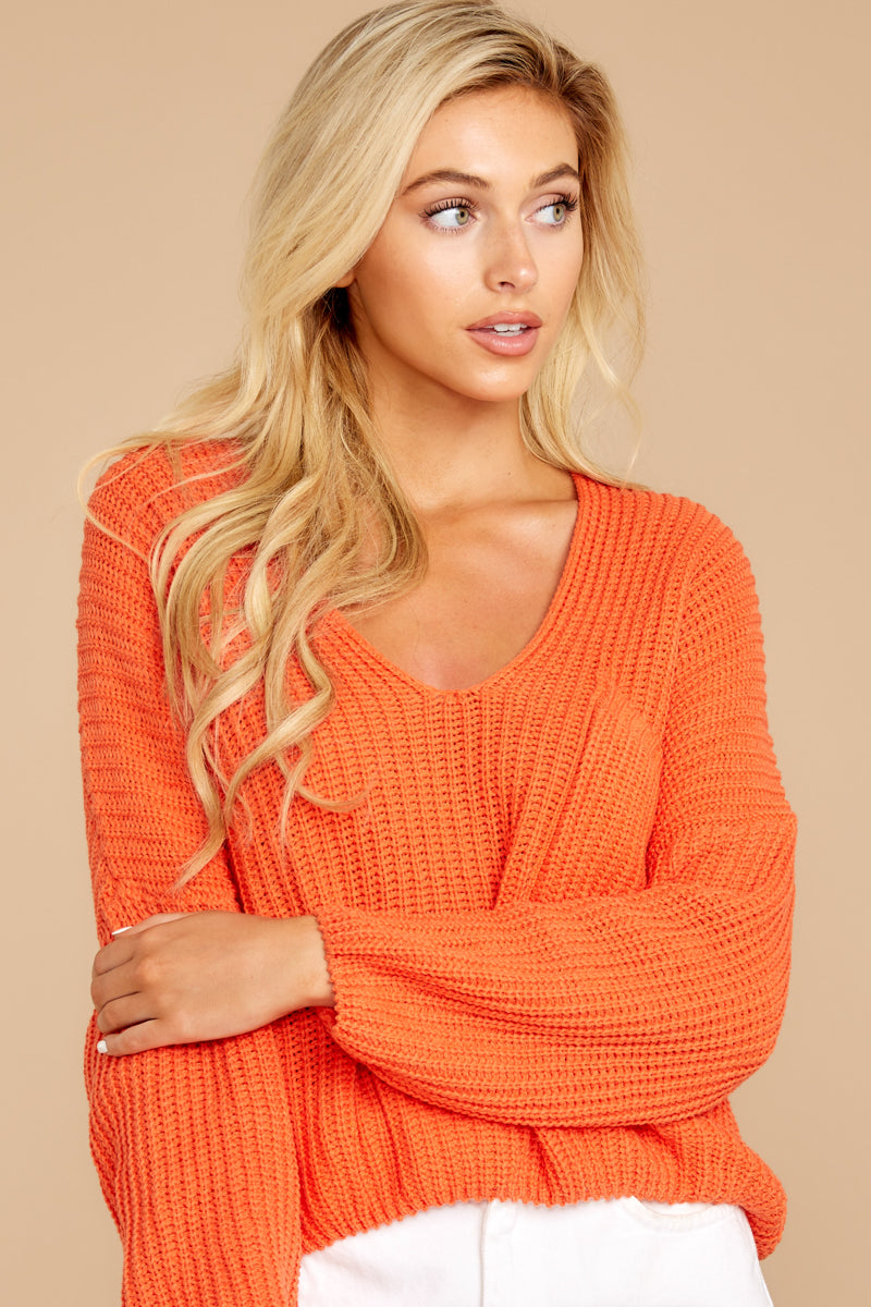 6 Keep Things Peaceful Bright Orange Sweater at reddressboutique.com