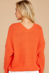 7 Keep Things Peaceful Bright Orange Sweater at reddressboutique.com