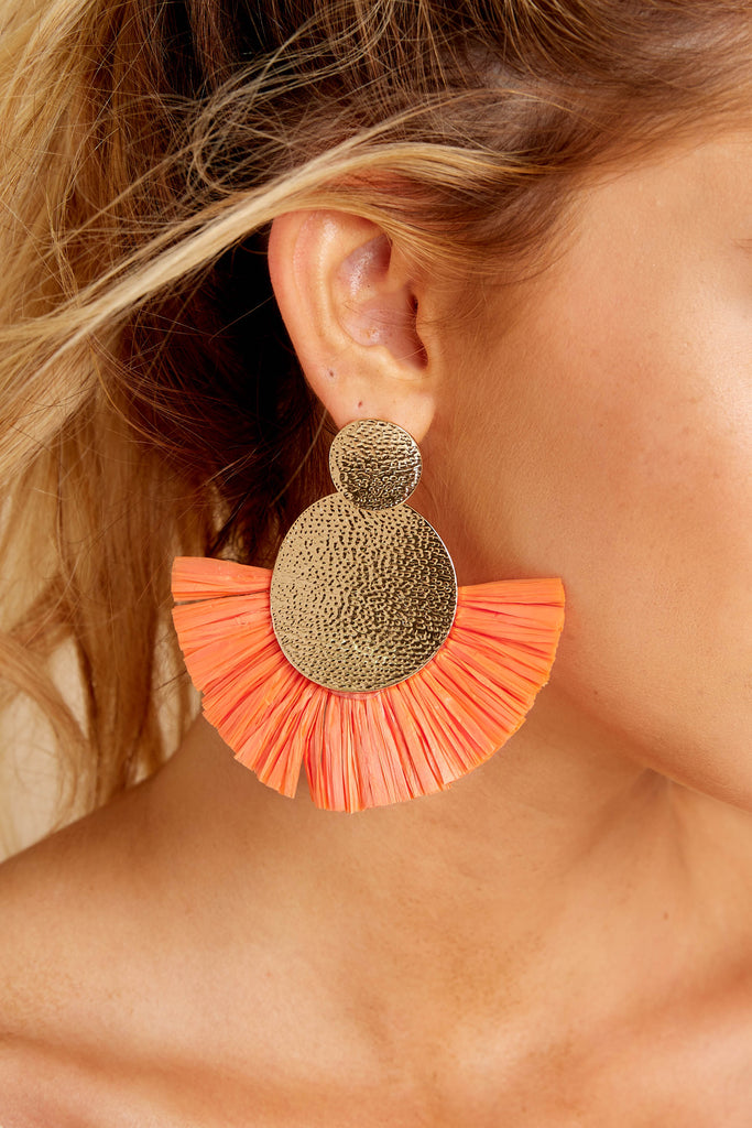 1 Freshly Sliced Coral Orange Beaded Earrings at reddressboutique.com