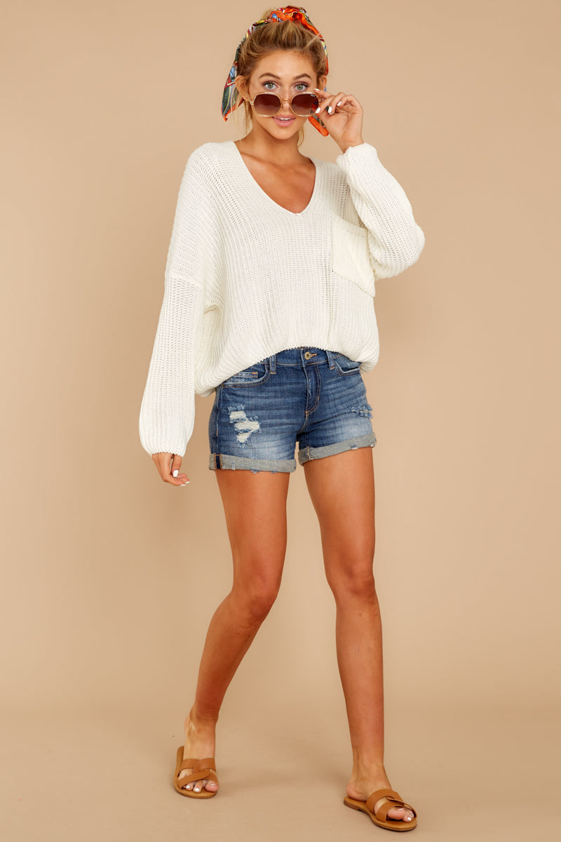 1 Keep Things Peaceful White Sweater at reddressboutique.com