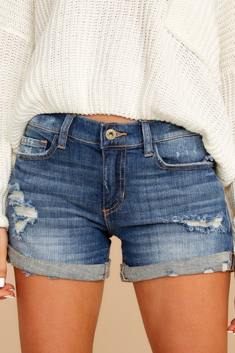 1 Won't Listen Dark Wash Distressed Denim Shorts at reddressboutique.com