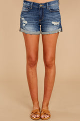 2 Won't Listen Dark Wash Distressed Denim Shorts at reddressboutique.com