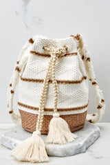 With No Direction Cream Drawstring Bag