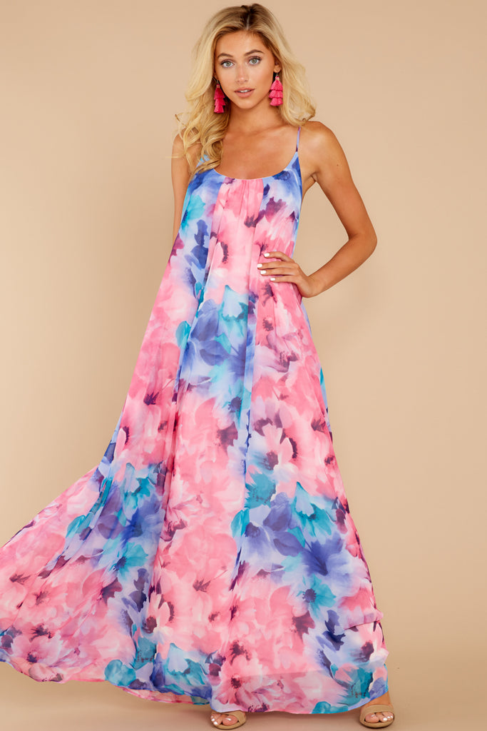 cb13863cc54e7b Something About It Pink And Blue Floral Print Maxi Dress