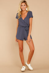 2 The Black Iris Micro Stripe Surplice Romper at reddressboutique.com