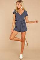V-neck Belted Self Tie Elasticized Waistline Striped Print Short Sleeves Sleeves Romper