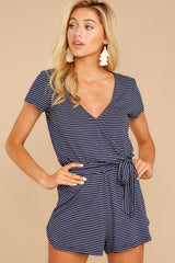 4 The Black Iris Micro Stripe Surplice Romper at reddressboutique.com