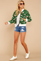 1 Feel The Vibe Pink And Green Palm Print Jacket at reddressboutique.com