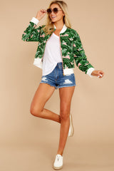 Feel The Vibe Pink And Green Palm Print Jacket