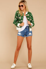 3 Feel The Vibe Pink And Green Palm Print Jacket at reddressboutique.com