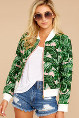 4 Feel The Vibe Pink And Green Palm Print Jacket at reddressboutique.com