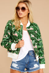 5 Feel The Vibe Pink And Green Palm Print Jacket at reddressboutique.com