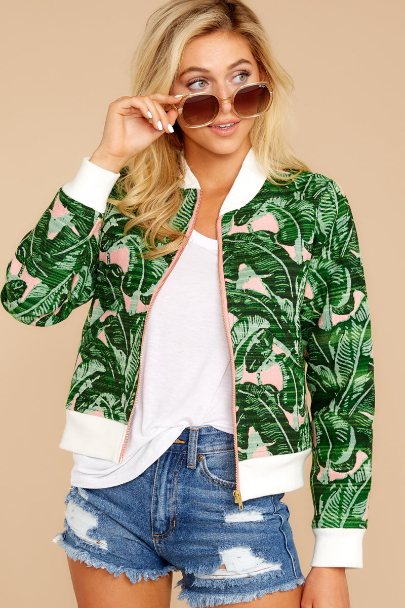 6 Feel The Vibe Pink And Green Palm Print Jacket at reddressboutique.com