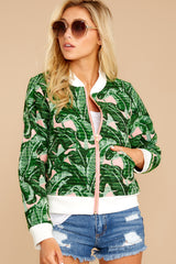 7 Feel The Vibe Pink And Green Palm Print Jacket at reddressboutique.com