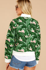 8 Feel The Vibe Pink And Green Palm Print Jacket at reddressboutique.com