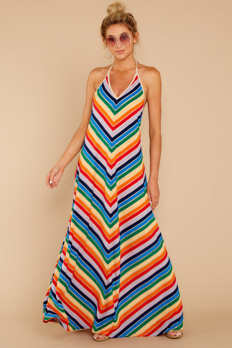 3 Post Storm Rainbow Stripe Halter Maxi Dress at reddressboutique.com