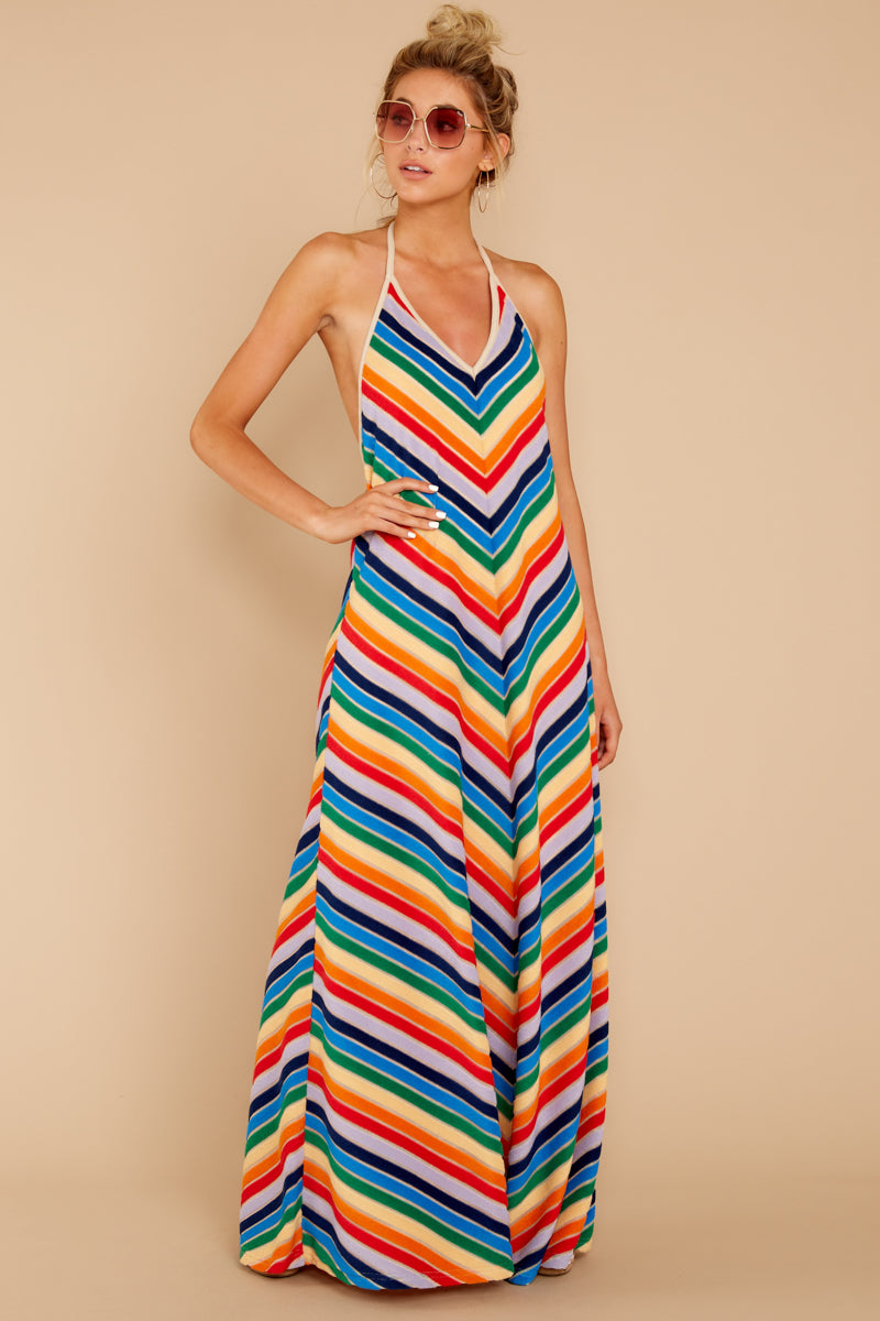 2 Post Storm Rainbow Stripe Halter Maxi Dress at reddressboutique.com