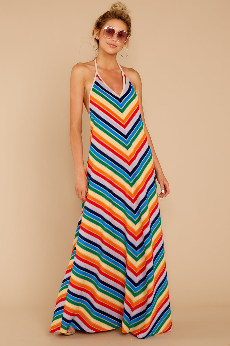 4 Post Storm Rainbow Stripe Halter Maxi Dress at reddressboutique.com