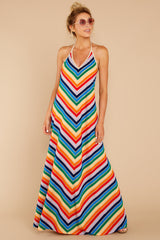 1 Post Storm Rainbow Stripe Halter Maxi Dress at reddressboutique.com