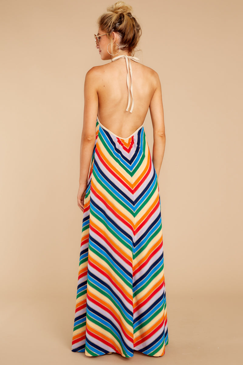 5 Post Storm Rainbow Stripe Halter Maxi Dress at reddressboutique.com