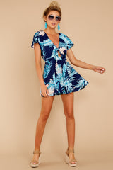 2 Found At Last Navy Tropical Print Romper at reddressboutique.com