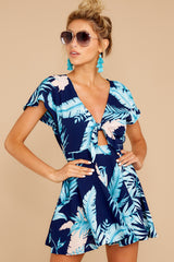 5 Found At Last Navy Tropical Print Romper at reddressboutique.com