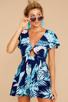 V-neck Plunging Neck Tropical Print Polyester Short Sleeves Sleeves Romper