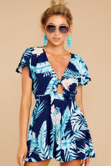 6 Found At Last Navy Tropical Print Romper at reddressboutique.com