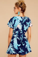 7 Found At Last Navy Tropical Print Romper at reddressboutique.com