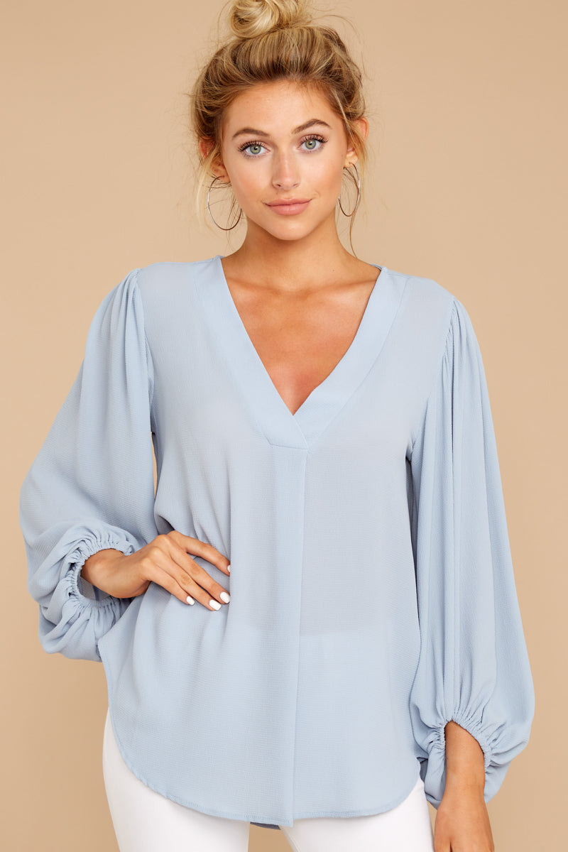 6 Around The Corner Dusty Blue Top at reddressboutique.com