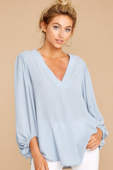 7 Around The Corner Dusty Blue Top at reddressboutique.com