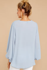9 Around The Corner Dusty Blue Top at reddressboutique.com