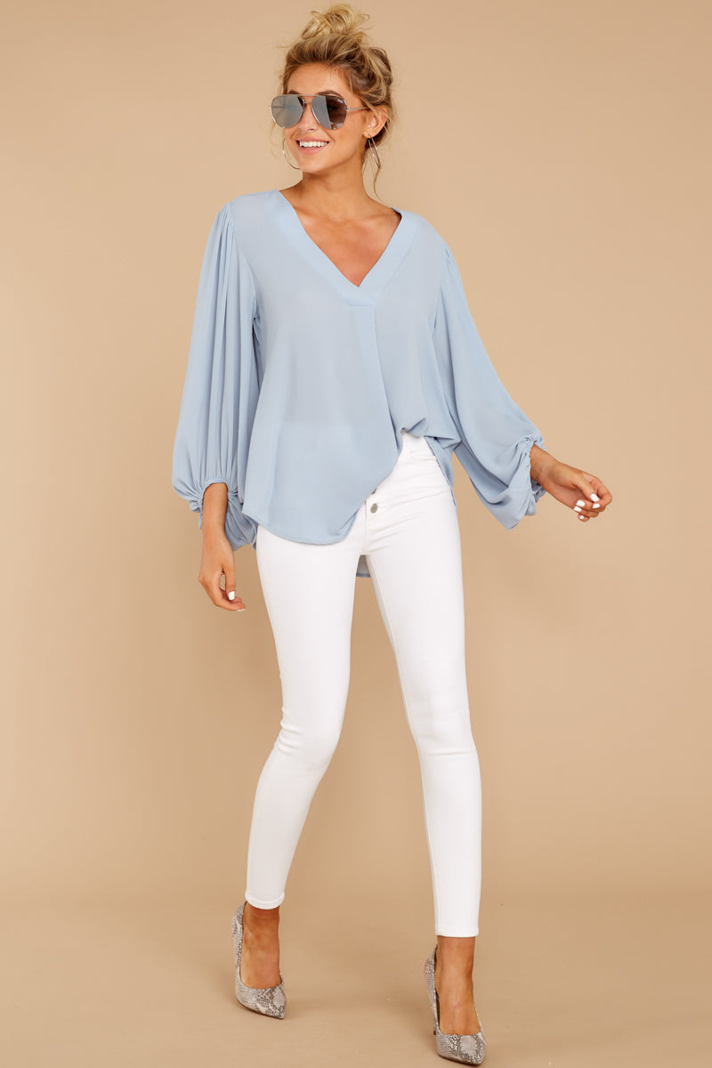 2 Around The Corner Dusty Blue Top at reddressboutique.com