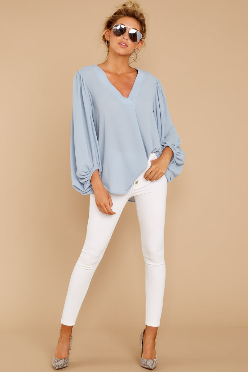 3 Around The Corner Dusty Blue Top at reddressboutique.com