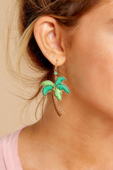 2 Going Coconuts Palm Tree Earrings at reddressboutique.com
