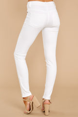 3 Self Sufficient White Skinny Jeans at reddressboutique.com