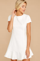 Polyester Short Sleeves Sleeves Hidden Back Zipper Darts Princess Seams Waistline Round Neck Dress With Ruffles