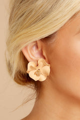 1 Pick Me Apricot Flower Earrings at reddress.com