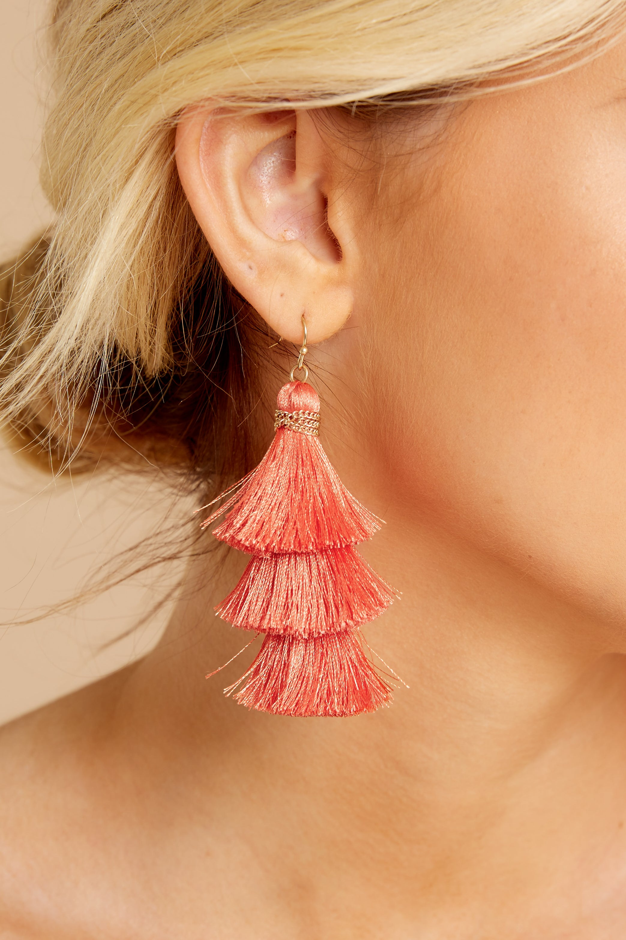 1 The Last Moment Coral Pink Tassel Earrings at reddress.com