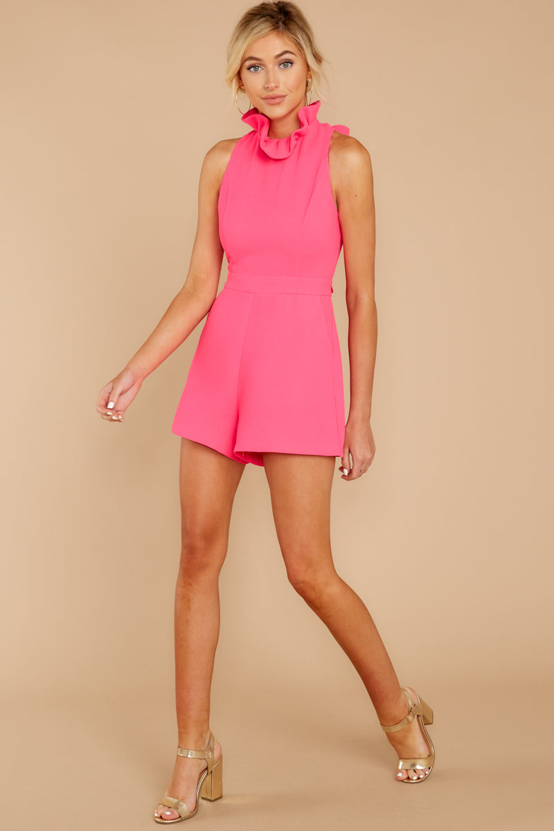 3 Stop For Nothing Neon Pink Romper at reddress.com