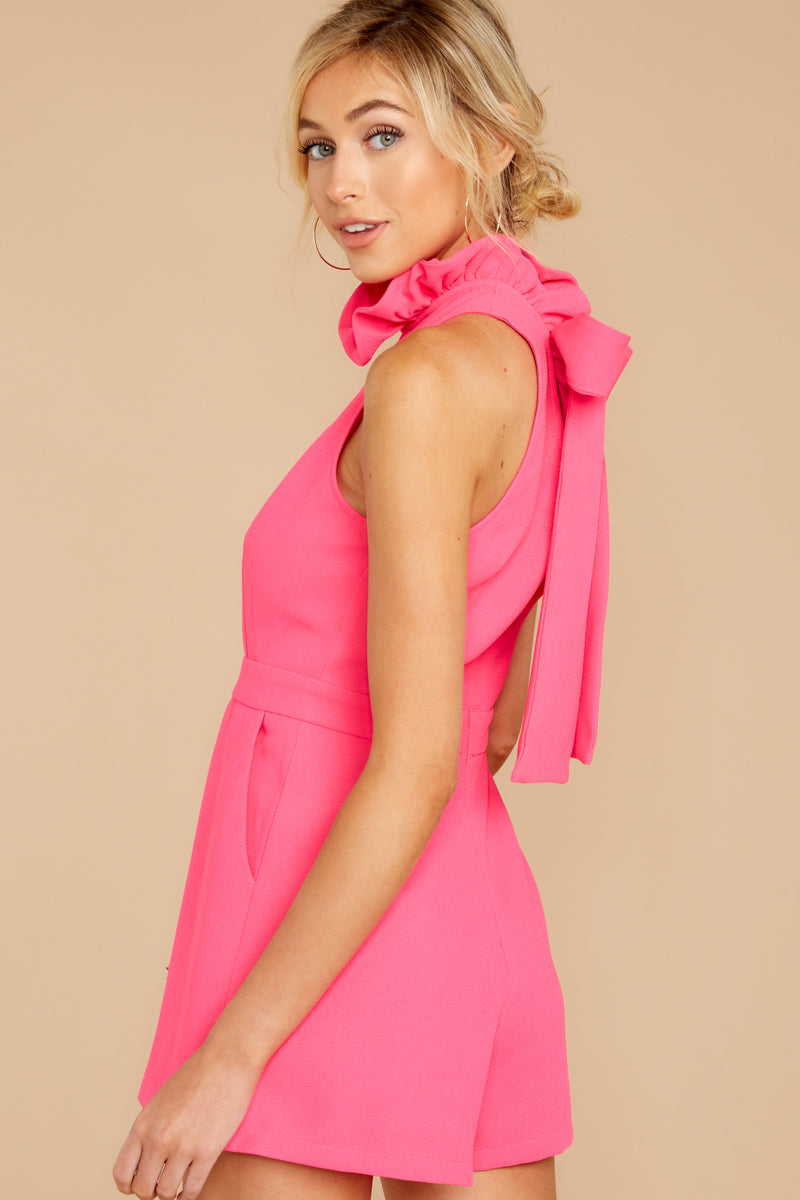 6 Stop For Nothing Neon Pink Romper at reddress.com