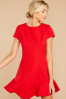 Hidden Back Zipper Darts Princess Seams Waistline Short Sleeves Sleeves Polyester Round Neck Dress With Ruffles