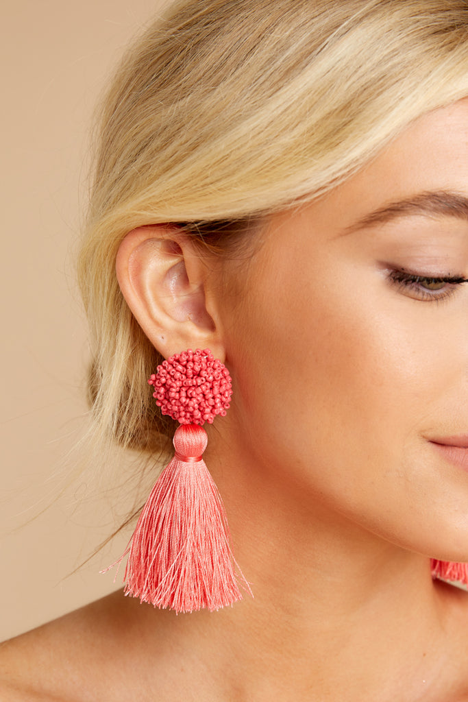3 Request More Time Mauve Pink Tassel Earrings at reddressboutique.com