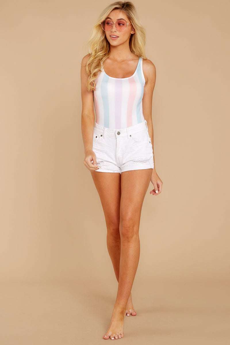 3 Watch You Pass By White Multi Stripe One Piece at reddressboutique.com