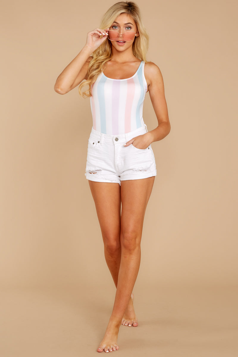 1 Watch You Pass By White Multi Stripe One Piece at reddressboutique.com