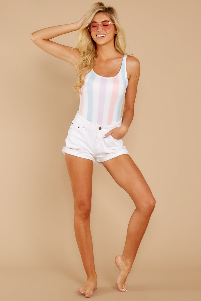 2 Watch You Pass By White Multi Stripe One Piece at reddressboutique.com