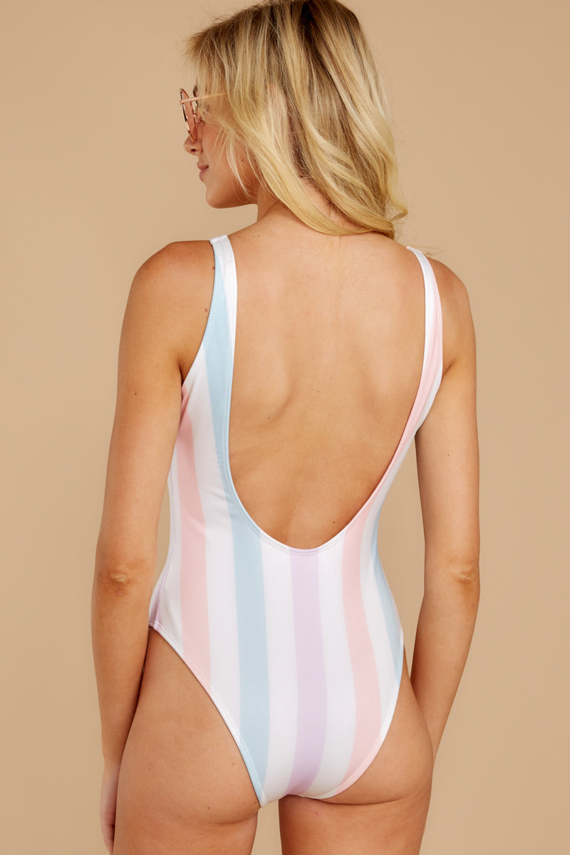 6 Watch You Pass By White Multi Stripe One Piece at reddressboutique.com