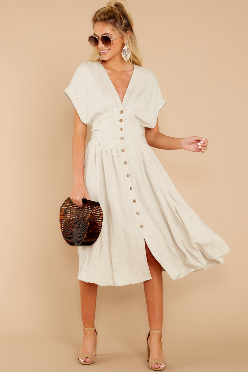 2 Well Balanced Taupe Midi Dress at reddressboutique.com